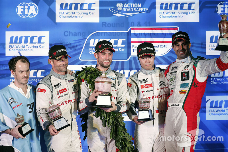 Race 1 podium: winner Jose Maria Lopez, Citroën World Touring Car team, Second place Sébastien Loeb, Citroën World Touring Car team, third place Ma Qing Hua, Citroën World Touring Car team and Mehdi Bennani, Sébastien Loeb Racing