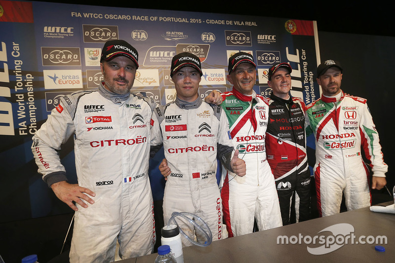 Press conference: Yvan Muller, Citroën World Touring Car team, Ma Qing Hua, Citroën World Touring Car team, Gabriele Tarquini, Honda Racing Team JAS, Norbert Michelisz, Zengo Motorsport and Tiago Monteiro, Honda Racing Team JAS