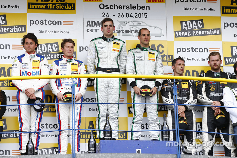 Podium, 2nd Sebastian Asch, Luca Ludwig, Team Zakspeed Mercedes-Benz SLS AMG GT3, 1st Jereon Bleekem