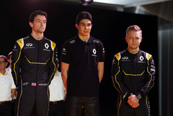 (L to R): Jolyon Palmer, Renault F1 Team with Esteban Ocon, Renault F1 Team Test Driver and Kevin Magnussen, Renault F1 Team