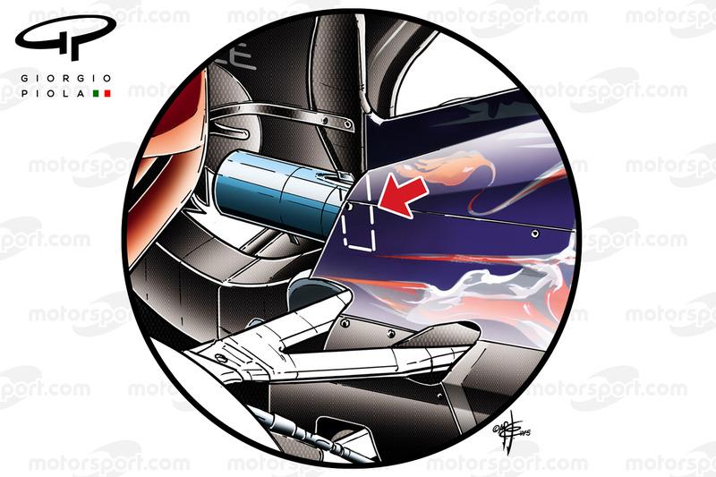Der Heckflügel des Toro Rosso STR10 mit Stützstrebe, die in die der Auspuff integriert ist