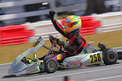 Mathias Ramirez celebrates his Rotax Junior win