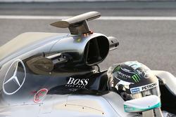 Nico Rosberg, Mercedes AMG F1 W07 engine cover air box detail