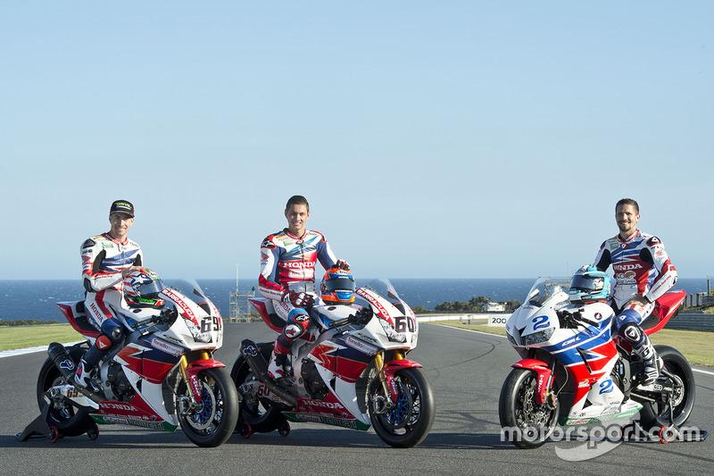 Nicky Hayden, Honda WSBK Team, Michael van der Mark, Honda WSBK Team y P.J. Jacobsen, Honda WSS Team