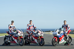 Nicky Hayden, Honda WSBK Team; Michael van der Mark, Honda WSBK Team und P.J. Jacobsen, Honda WSS Team