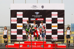 Podium : tweede, Kenan Sofuoglu, Puccetti Racing Kawasaki, winnaar Jules Cluzel, MV Agusta en derde, P.J. Jacobsen, Honda WSS Team