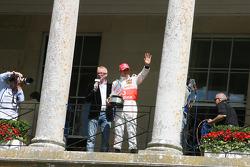 Chris Evans introduces Lewis Hamilton with his British GP winner's trophy