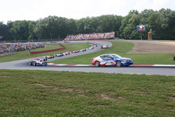 The pace car leads the field through the