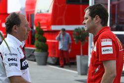 Willy Rampf, BMW-Sauber, Technical Director and Aldo Costa, Scuderia Ferrari, Chief Designer
