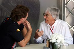 Bernie Ecclestone, President and CEO of Formula One Management and Christian Horner, Red Bull Racing, Sporting Director