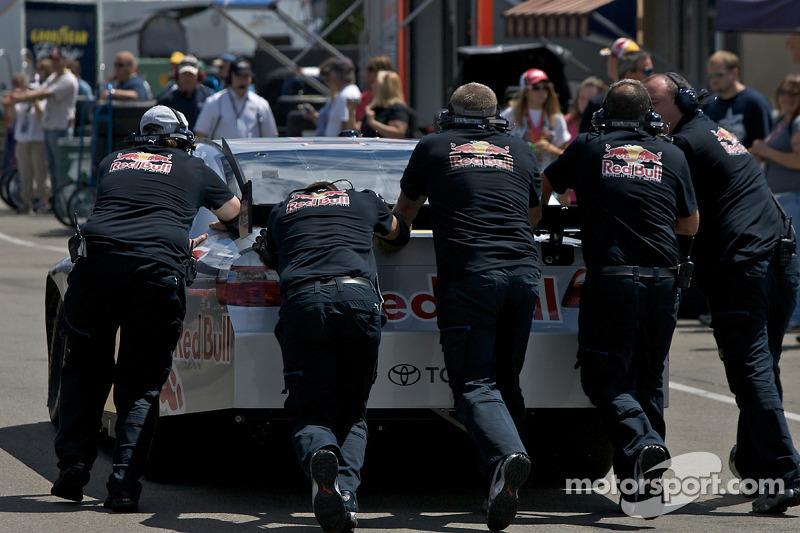 A.J. Allmendinger pushed to the garage