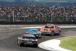 Pace truck out in front of Kyle Busch and Jason Leffler
