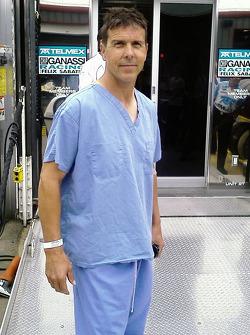 Scott Pruett in hospital jammies after his accident