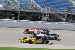 Sarah Fisher, Marco Andretti, and Mario Moraes running three wide