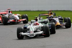 Rubens Barrichello, Honda Racing F1 Team; David Coulthard, Red Bull Racing