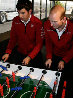 Mike Rockenfeller and Alexandre Prémat play fussball at the Audi Sport Team Joest hospitality
