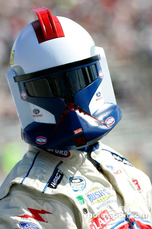 Marcos Ambrose wears a Star Wars Stormtrooper helmet
