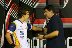 Fernando Alonso, Renault F1 Team with Luis Garcia Abad, Manager of Fernando Alonso
