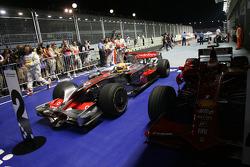 Lewis Hamilton arrives in parc fermé