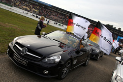 All the Mercedes Benz cars in the parade lap carried flags with the text: bye, bye, Bernd on the occasion of his very last DTM race