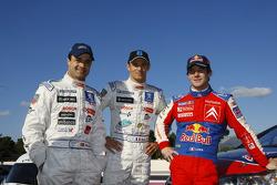 Pedro Lamy, Sébastien Loeb and Stéphane Sarrazin