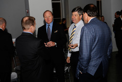 ESPN's Allen Bestwick, NASCAR on FOX analyst Larry McReynolds, NASCAR on FOX announcer Mike Joy and MRN announcer Winston Kelley enjoy Sprint's Reception at the Sports Museum of America
