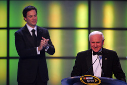 2008 NASCAR Sprint Cup Series Champion Jimmie Johnson applauds the man whose record he has tied: three-time NASCAR champion Cale Yarborough