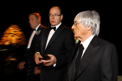 Automobile Club of Monaco President Michel Boeri, His Serene Highness Prince Albert of Monaco and Formula One Management CEO Bernie Ecclestone