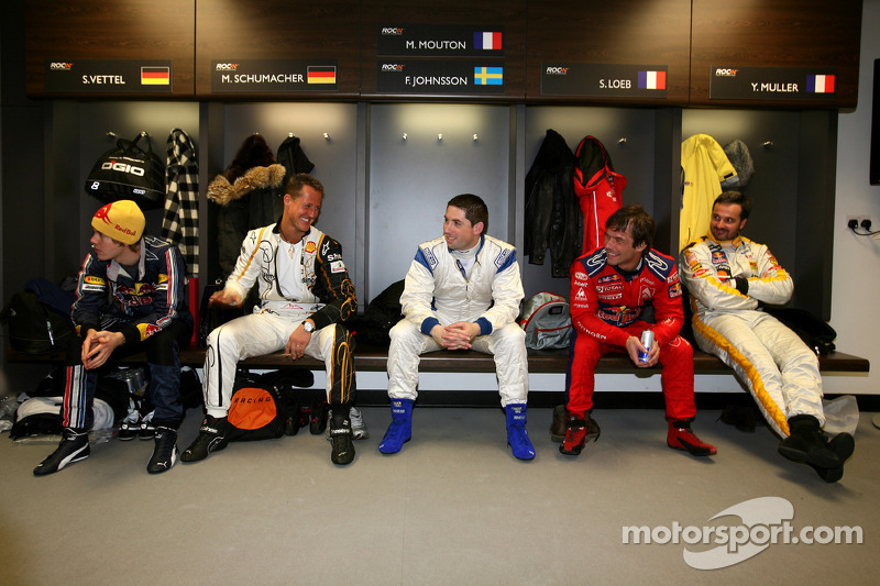 Sebastian Vettel, Michael Schumacher, Gareth McHale, Sébastien Loeb and Yvan Muller in the drivers' briefing