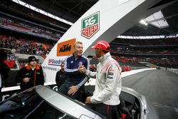 Cyclist Chris Hoy and Lewis Hamilton
