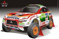 Repsol Mitsubishi Ralliart Team presentation in Morocco: rendering of the Mitsubishi Racing Lancer