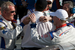DP victory lane: race winner David Donohue celebrates with Hurley Haywood