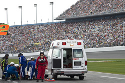 Crew member for Jeremy Mayfield, Mayfield Motorsports ToyotaJeremy Mayfield, Mayfield Motorsports Toyota, Kyle Roland gets taken away by medics
