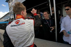 GT2 pole winner Dirk Werner celebrates with Wolf Henzler