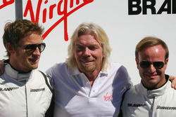 Sir Richard Branson CEO of the Virgin Group makes and announcement regarding the Virgin sponsorship deal with Brawn GP, Jenson Button, Brawn GP, Sir Richard Branson, Virgin Group CEO, Rubens Barrichello, Brawn GP