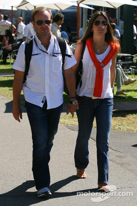 Rubens Barrichello, Brawn GP, mit Ehefrau Silvana