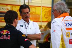 Christian Horner, Red Bull Racing, Sporting Director, Dr. Mario Theissen, BMW Sauber F1 Team, BMW Motorsport Director and Flavio Briatore, Renault F1 Team, Team Chief, Managing Director