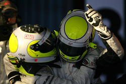 Jenson Button, Brawn GP, celebrates with second place Rubens Barrichello, Brawn GP