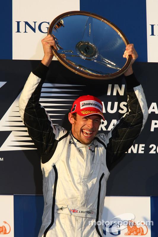 Podium: race winner Jenson Button, Brawn GP