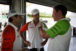 Giancarlo Fisichella Force India F1 with Vitantonio Liuzzi Force India F1 Third Driver and Jody Eggington Force India F1 Race Engineer