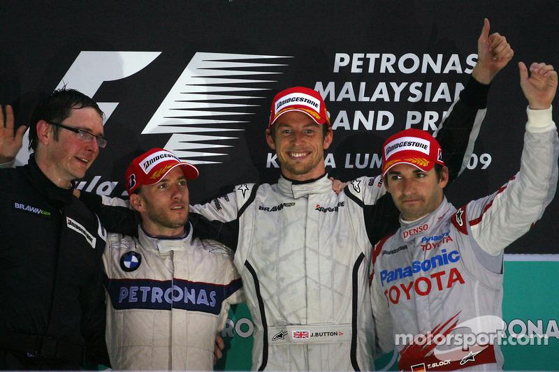 2009 : 1. Jenson Button, 2. Nick Heidfeld, 3. Timo Glock