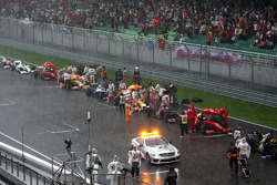 Safety car, after the race was red flagged due to rain