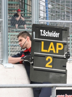 Pitboard for Timo Scheider, Audi Sport Team Abt Audi A4