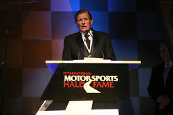 NASCAR Sprint Cup Series championship-winning car owner Bud Moore speaks at his induction ceremony into the International Motorsports Hall of Fame