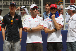 Sebastian Vettel, Red Bull Racing, Timo Glock, Toyota F1 Team, Jarno Trulli, Toyota Racing and Nick Heidfeld, BMW Sauber F1 Team