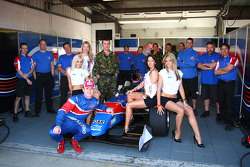 Dan Clarke, driver of A1 Team Great Britain with The help for Heros girls
