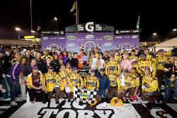 Victory lane: race winner Kyle Busch, Joe Gibbs Racing Toyota celebrates