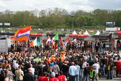 Jeroen Bleekemolen, driver of A1 Team Netherlands, Adam Carroll, driver of A1 Team Ireland, Neel Jani, driver of A1 Team Switzerland