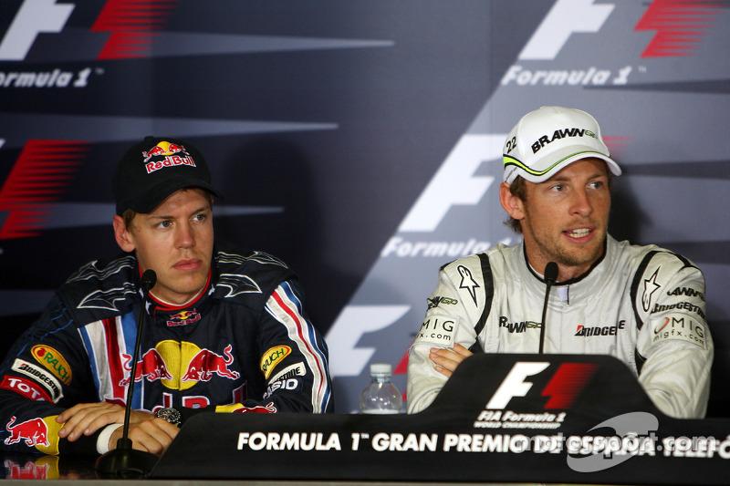 FIA press conference: Sebastian Vettel, Red Bull Racing, pole winner Jenson Button, Brawn GP
