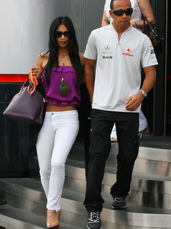 Lewis Hamilton, McLaren Mercedes with his girlfriend Nicole Scherzinger, Singer in the Pussycat Dolls